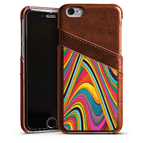 Apple iPhone 4 Housse Étui Silicone Coque Protection Couleurs Bandes Arc-en-ciel Étui en cuir marron