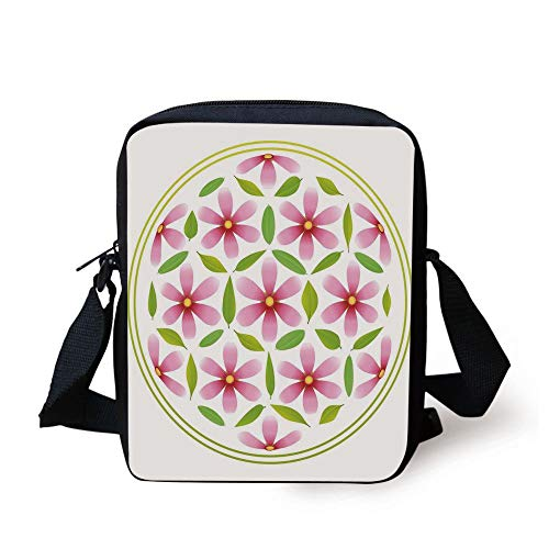 Floral,Flower of Life with Florets and Leaves inside Circle Cosmos Beauty Image,Light Pink Fern Green Print Kids Crossbody Messenger Bag Purse