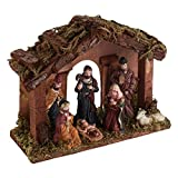 #7: Theme My Party WOODEN STABLE WITH MINIATURE NATIVITY STATUES / CHRISTMAS CRIB
