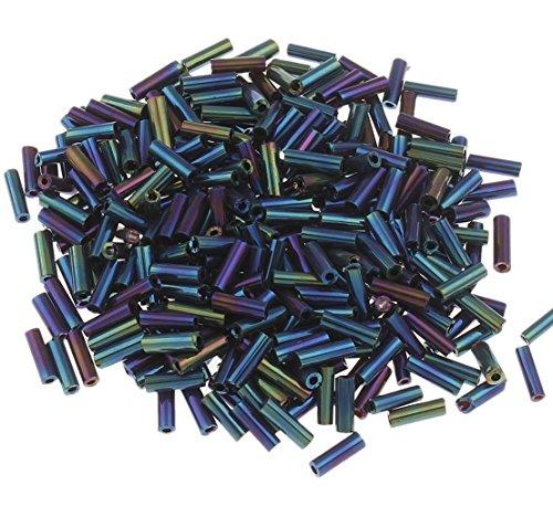 450g Stiftperlen 6mm Rocailles Glasstifte Glasperlen Iris Metallic Blau AB für Schmuck Kette Armband Hobbyauflösung Deko A251 (Metallic-perlen-halskette Blau)