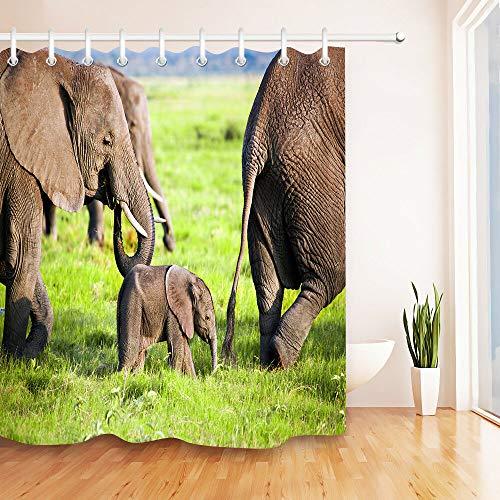 yinyinchao Decoración Baño,Impresión 3D HD No Se Desvanece,La Familia Elefantes Sabana Africana,Impermeable,Cortina...