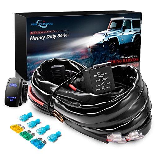 MICTUNING 12Gauge 600W HD LED Scheinwerfer Kabelbaum mit 40A Relais,Wippschalter und 3 kostenlose Sicherung (Kabelbaum)