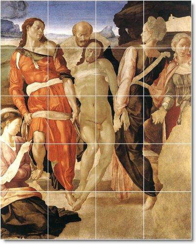 MICHELANGELO RELIGIOSO PARA AZULEJOS MURAL 27  48X 60CM CON (20) 12X 12AZULEJOS DE CERAMICA