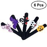 #7: YeahiBaby 6Pcs Slap Bracelet Kids Halloween Pumpkin Spider Snap Wristbands Halloween Party Supplies