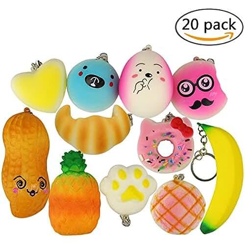mini kawaii miniaturas kawaii Hemore Mini Squishy Kawaii Juguete de 20 PCS y 30PCS con una Caja para Niños Adultos Estrés Aliviar el Aumento Lento Squishies de Silicona (Frutas)