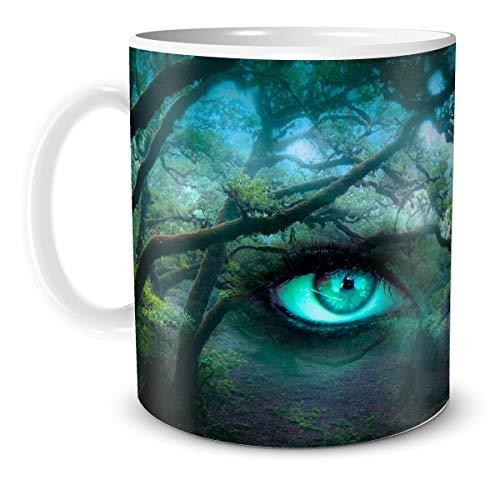 TRIOSK Fantasy Teebecher Wald mit Motiv Zauber Augen Wild Green zauberhaft mystisch Gothic magisch für Hexen Zauberer
