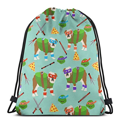 English Bulldog Mutant Turtles Dog Dogs Pet Cartoon Cosplay Comic Halloween Dogs 3D Print Drawstring Backpack Rucksack Shoulder Bags Gym Bag for Adult Child 16.9