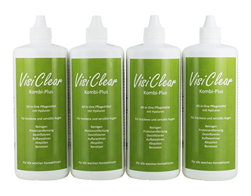 VisiClear Kombi-Plus All-In-One Pflegemittel mit Hyaluron für weiche Kontaktlinsen, 4 x 360 ml