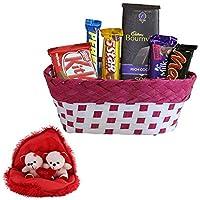 SFU E Com 6 Pcs Chocolate Gift Basket | Heart Shaped Cushion With Cute Couple Teddy Bear Inside | Lovely Gift Combo For Him, Her, Husband, Wife, Girl Friend, Boy Friend | Heart Shaped Cushion With Teddy Bear Inside