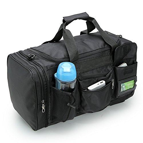 Pellor 30L Wasserdicht Nylon Sporttasche Fitness Tasche Sport Gym Tasche Reisetasche Duffle Bag Schulter Handtasche mit Schuhfach Schwarz
