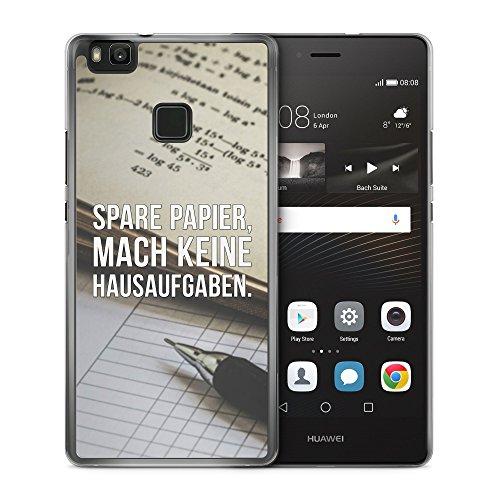 Spare Papier, Mach Keine Hausaufgaben - Handy Hülle für Huawei P9 Lite - Hard Case Cover Schutzhülle - Coole Bedruckte Design Lustige Ausgefallene Geile Witzige Spruch Sprüche Schule