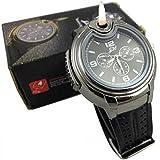 Stylische Herren Uhr mit eingebautem Feuerzeug, nachfüllbar, Schwarzes Ziffernblatt