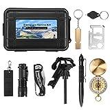 Finether Survival Kit Set 11-in-1 Außen Notfall Selbsthilfe Werkzeuge mit Klappmesser