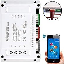 Sonoff 4CH 4 Canales WIFI Smart Switch Interruptor Inteligente Inalámbrico de Control Remoto Smart Home Automation de Montaje para Teléfono Control de APP (Funciona con Alexa (Amazon Echo, Echo Dot y Amazon Tap)