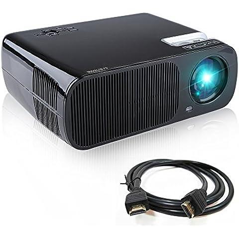 Proyector, Crenova XPE600 Proyector LED Portátil HD Foco ajustable 800*480 Resolución 2600 lúmenes Cine Tatro Multimedia 1080P Teatro en casa compatible con iPad iPhone PC Disco USB -