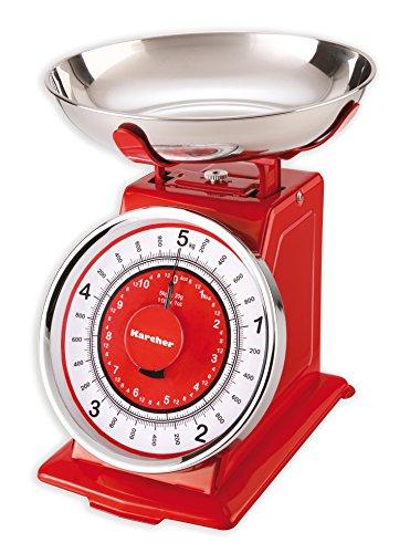 Karcher Báscula de Cocina, Retro, mecánica, plástico, Rojo, 23 x 21 x 25 cm