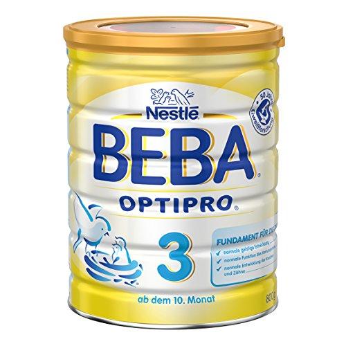 Nestlé Beba OptiPro 3 Folgemilch, ab dem 10. Monat, Baby-Nahrung als Pulver, im Anschluss an das Stillen, bei angemessener Beikost, 1er Pack (1 x 800g Dose)