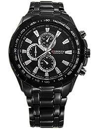 Reloj de hombre - CURREN Reloj de pulsera de acero inoxidable de hombre (Correa negra & Esfera negra&puntero de plata)