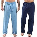 Harvey James Herren 2.er Pack Pyjama Hosen Loungehosen (L) Navy Blau