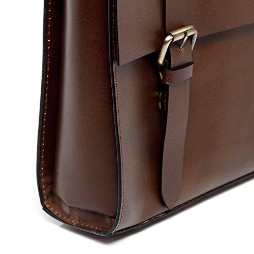 """SID & VAIN Aktentasche BOSTON - Laptoptasche fit für 15"""", iPad mit Extra-Abtrennung- Businesstasche mit Schultergurt festes echtes Sattelleder hellbraun-cognac braun"""
