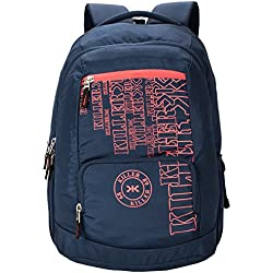 Killer Houston 36L Large Laptop Backpack With 2 Compartments Navy Blue Polyester Trendy Waterproof Travel Backpack