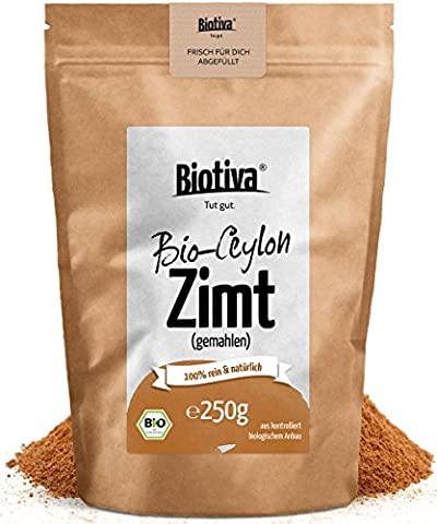 Bio Zimt Ceylon // Ceylon-Zimt gemahlen (Bio, 250g) I 100% Bio-Qualität I Großpackung im wiederverschließbaren Aroma-Frischebeutel I Zimtpulver abgefüllt und kontrolliert in Deutschland (Honig Zimtpulver)
