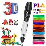 Matita 3D per bambini, Kainuoa giocattolo per bambini penna 3D con 1,75 mm PLA da 16, ogni colore 10 piedi, penna a pressione 3D con schermo LED è per bambini, artisti, adulti e upgrade.