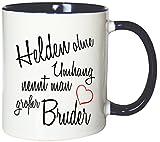 Mister Merchandise Kaffeebecher Tasse Helden ohne Umhang nennt man großer Bruder Schwanger baby Kind Schwangerschaft sohn Teetasse Becher Weiß-Blau