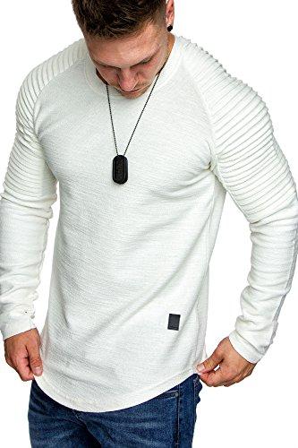 Weißes Crewneck Pullover (Amaci&Sons Oversize Vintage Herren Pullover Biker-Style Hoodie Sweatshirt Crew-Neck 6069 Weiß S)