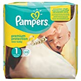 Pampers Windeln New Baby Gr. 1 Newborn 2-5 kg Tragepack, 4er Pack (4 x 23 Stück)