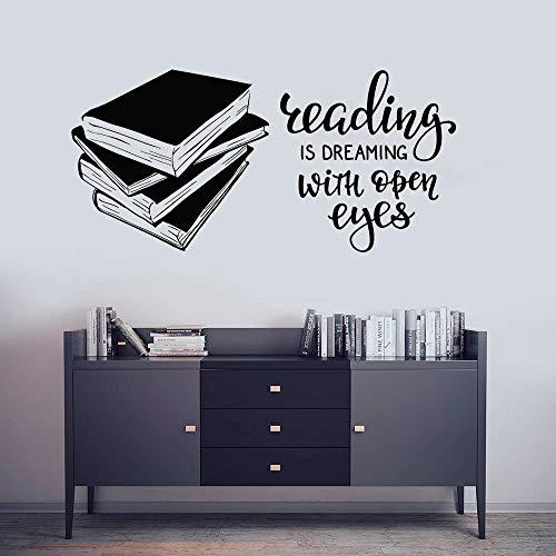 ttoo Bibliothek Lesesaal Wandaufkleber Bücher Shop Vinyl Widnow Poster Abnehmbare Lesung Zitat Aufkleber 88 * 42 cm ()