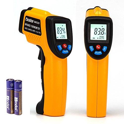 Peralng® Laser Infrarot Thermometer Pyrometer -50~380°C Infrarot-MessungTemperaturmesser Temperaturmessgerät IR Digital Temperature Berührungslose Messgerät Infrarotmesspistole LCD Digitalanzeige