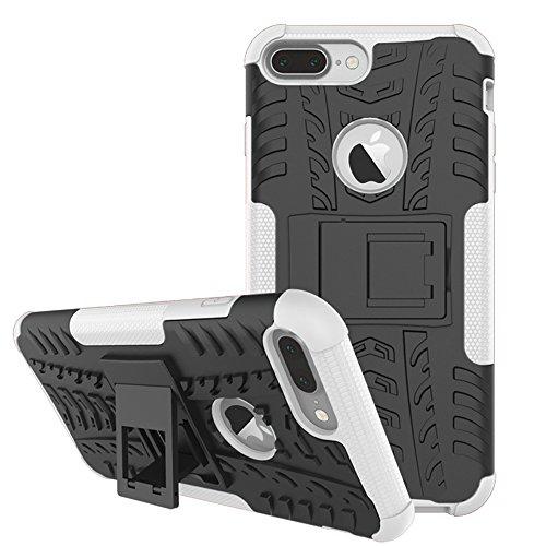 DBIT iPhone 7 Plus / iPhone 8 Plus Custodia, Alta qualità Durevole TPU/PC Custodia protettivo Armatura Case con cavalletto per iPhone 7 Plus / iPhone 8 Plus,Bianco Bianco