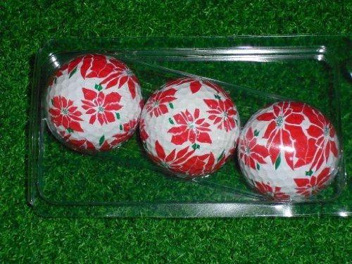 Balle de Golf en forme de poinsettia de Noël sur le thème de l'hiver Lot de 3 carats