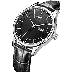 BUREI Day and Date Calendar Large Face Precise Quartz Black Watch Wristwatch for Man with Black Leather Strap