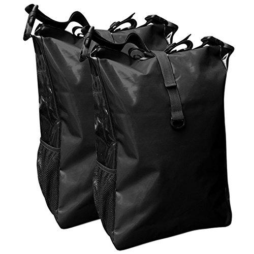 Fahrradtasche für den Gepäckträger aus LKW-Plane 2 Stück mit Farbauswahl Schwarz/Schwarz