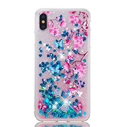 Miagon Flüssig Hülle für iPhone Xs Max,Glitzer Weich Treibsand Handyhülle Glitter Quicksand Silikon TPU Bumper Schutzhülle Case Cover-Blume Schmetterling