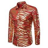 Herren Floral Bedruckt Lange Ärmel Freizeit und Mode Shirt(L,Rot)
