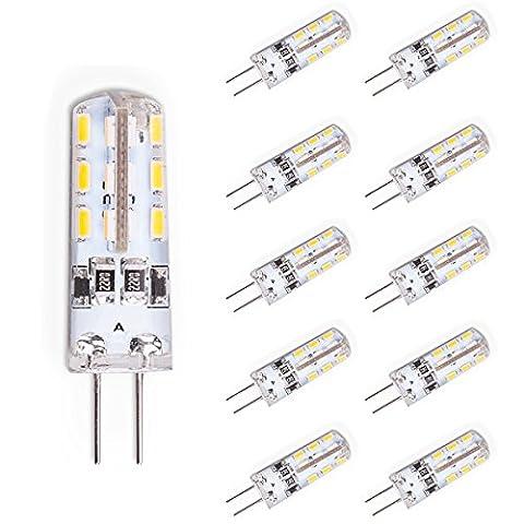10er G4 LED Lampe 1,5 Watt Warmweiß 12V DC 24x 3014 SMD G4 Stiftsockel Halogen Leuchtmittel