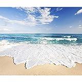 decomonkey | Fototapete Strand Meer blau Himmel Wellen 350x256 cm XXL | Design Tapete | Fototapeten | Tapeten | Wandtapete | moderne Wanddeko | Wand Dekoration Schlafzimmer Wohnzimmer | Landschaft Natur