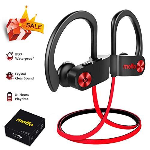 Bluetooth Kopfhörer Moffo Bluetooth Ohrstöpsel, 6-8 Stunden Spielzeit, Bluetooth 4.1, In Ear Kopfhörer mit Mikrofon für iPhone Android Samsung iPad Huawei HTC usw (Schwarz rot)