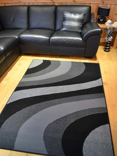 Trend Silver Grey And Black Wave Rug. 8 Sizes Available (60cm x 110cm)