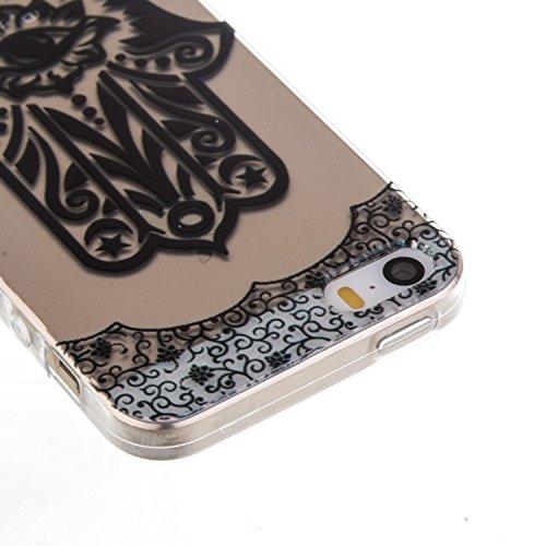 CaseHome iPhone SE/5S/5 Durchsichtig Silikon TPU Hülle Elegantes Stilvoll Hübsches Muster Druckte Entwurf (Mit freiem HD Schirm-Schutz) Gummi Silikongel Retro Klassiker Stoßstange Weicher Stoßdämpfer- Palme