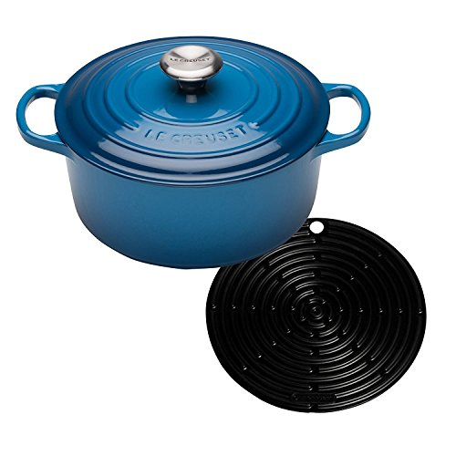Le Creuset Signature Cast Iron Round Casserole with Cool Tool, 28 cm - Marseille Blue