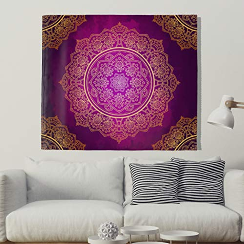Lila Gold Mandala Tapisserie de plage Bohemian 200x150cm lilas