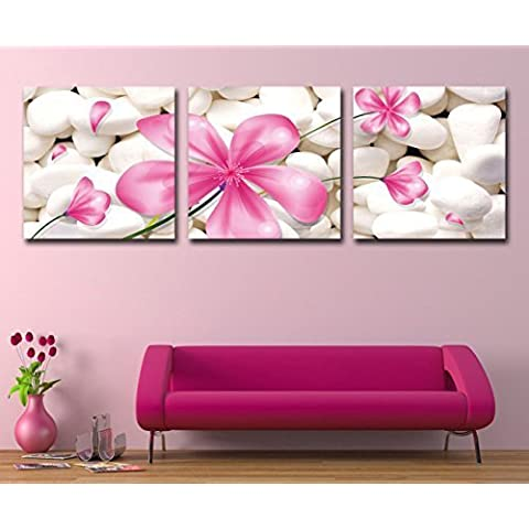 Mon Kunst Canvas Art 3p Art Deco Modern Abstract Wall Art Painting on Canvas with Pink Flowers(Stretched and Framed) Ready to Hang by Mon