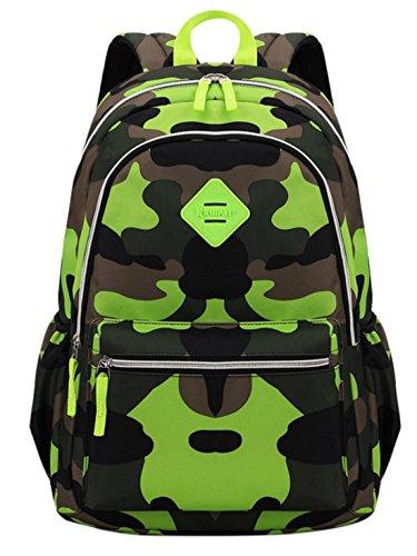 Happy cherry - scuola zaino mimetico - scuola borsa sport - zainetto impermeabile sacchetto scuola schoolbag backpack di camuffamento per bambini studenti - verde - taglia l