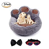 LA VIE Pet Bed Anti-Slip Bottom Cute Paw Shaped Dog Sofa Bed with Soft and Cozy Plush Portable Dog Mattress for Small Medium Dogs Cats Puppies with Bow Tie and Sunglasses for Animals Grey M