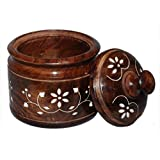 Wooden Sugar Pot carving & Serving Bowl Kitchen Big Container for home