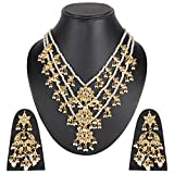 Beunew Women's Hand Crafted Kundan with Pearl Necklace Set Party Wear Chand Bali Three Lada White Colour (Beunew181) (Golden-A)